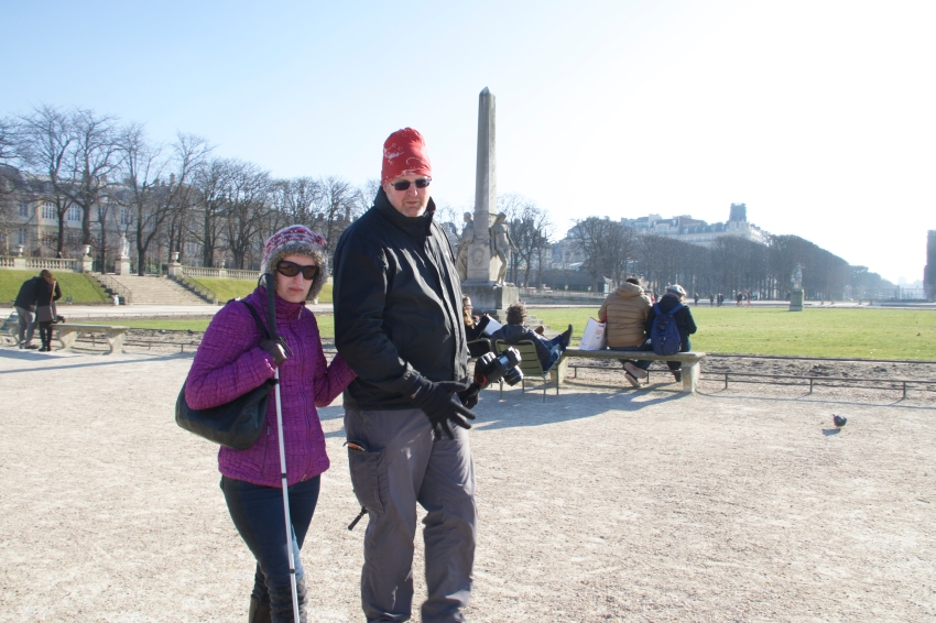 Alex with guide in the Jardin du Luxembourg